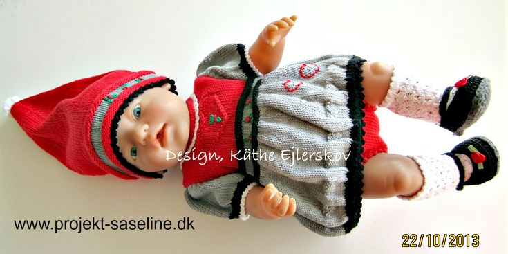 Baby born opskrifter 43 cm. Baby born som nisse pige med ballon kjole underbukser nissehue strømper og sko