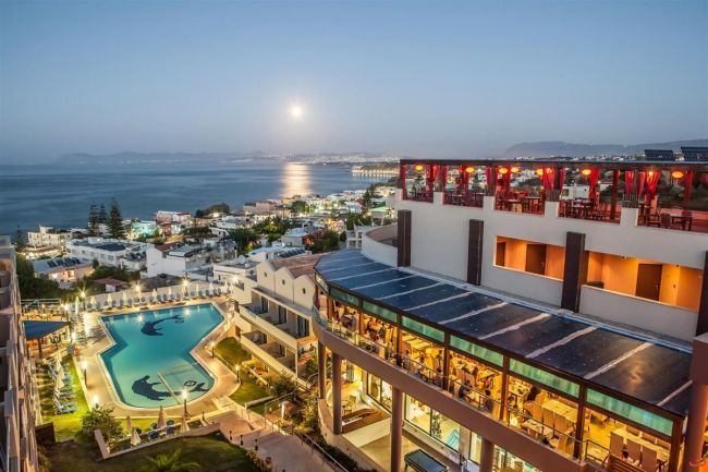 CHC Galini Sea View Hotel, 5-star Hotel on All Inclusive in Agia Marina, Chania. In this hotel you can relax under the hot sun in the lovely sandy beach in front of the hotel, enjoying a drink in the pool bar, or eating in the restaurant.
