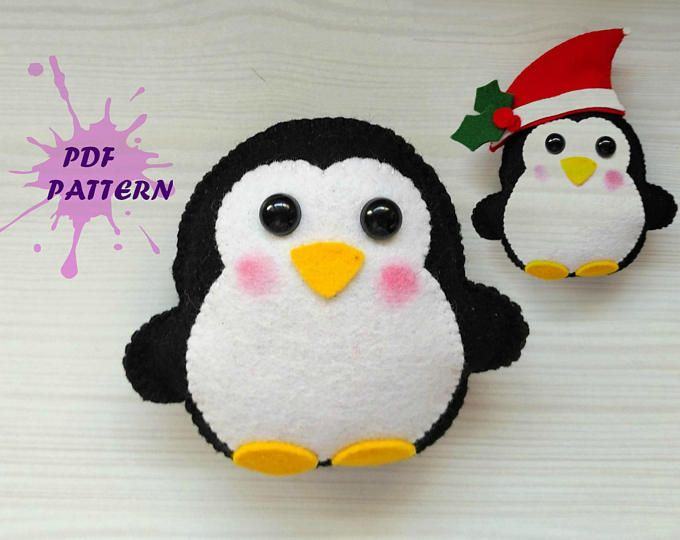 Felt Penguin PDF pattern Christmas ornament DIY Nursery decor Baby's mobile toy Felt penguin toy Kids present Felt ornament penguin felt toy