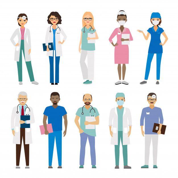 Equipo Medico Del Hospital Vector Premium Equipo Medico Medicos Dia Del Medico