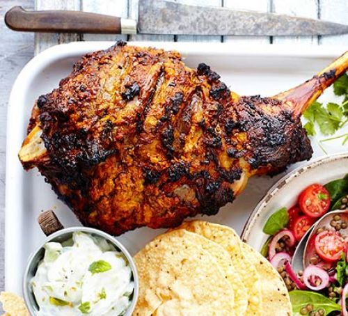 Spiced roast lamb - An Indian-inspired yogurt marinade with cumin, turmeric, chilli and fennel. Cooked at Dell Quay Easter '16, delicious with the 2 salads recomended