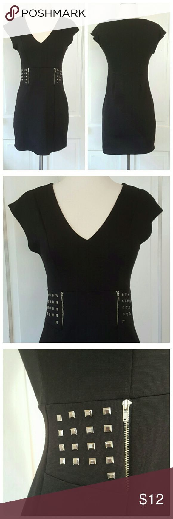 Bluheaven Black Stretch Dress Blueheaven black stretch dress with metallic medallion studs and zippers at side front. Bluheaven Dresses Mini