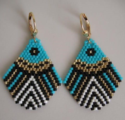 Seed Bead Beadwoven Earrings  Turquoise by pattimacs on Etsy