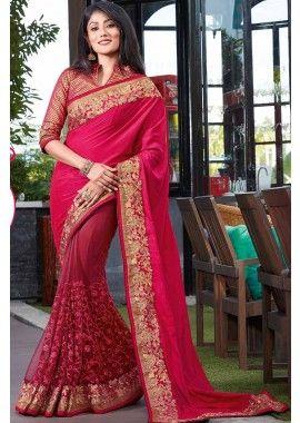 magenta et rani couleur net et soie sari rose, -  187,00 €,  #Sariindienmariage  #Sariindien2017  #Robepakistanaise  #Tuniqueindiennefemme  #Tenueindienne  #Shopkund