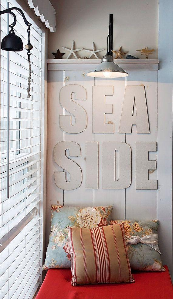 Seaside Canvas abgedeckt, nautische Dekoration, Typografie, Großbriefe, Wohnkultur, Briefe, Cottage