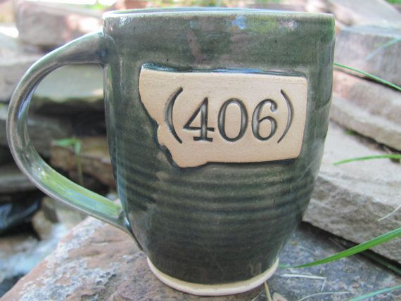 Montana Area Code 406 Mug  BlueGreen Mug MADE TO by 504SquareFeet, $20.00