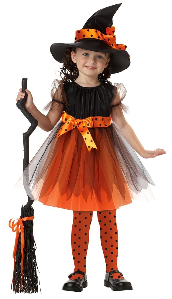 childrens shoes, orange polka dots   Orange Charmed Witch Toddler Costume