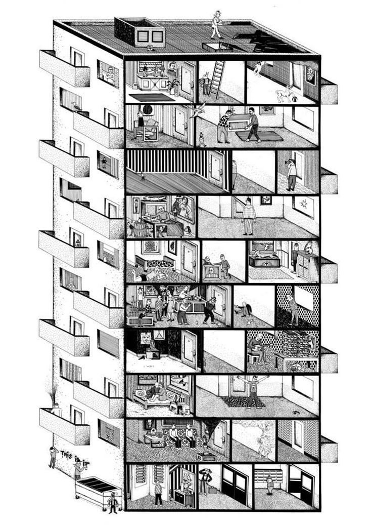 Arnar Ásgeirsson's Living Sections The building itself is used as a narrative device, in order to keep together several micro-stories ranging from the surreal to the mundane.