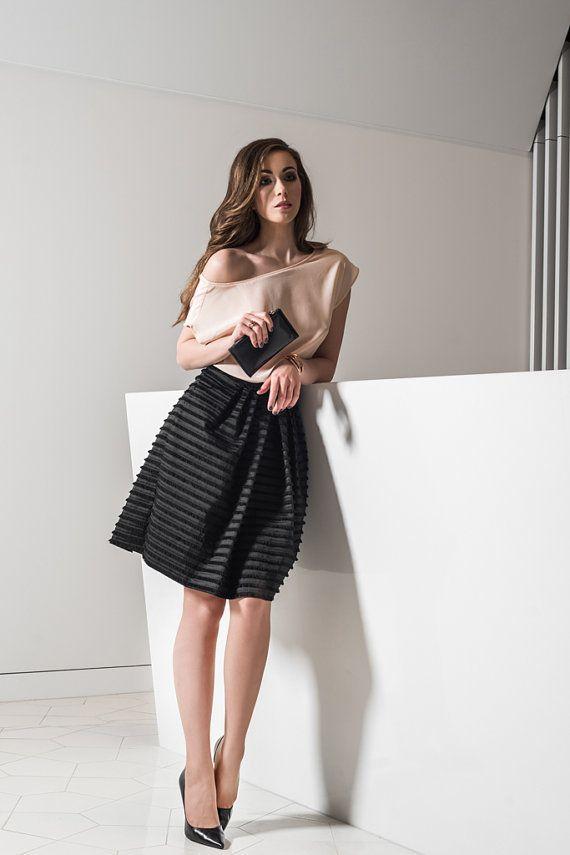 Black skirt with fringles, black skirt, amazing fabric, black elegant skirt, party skirt, a-shaped skirt