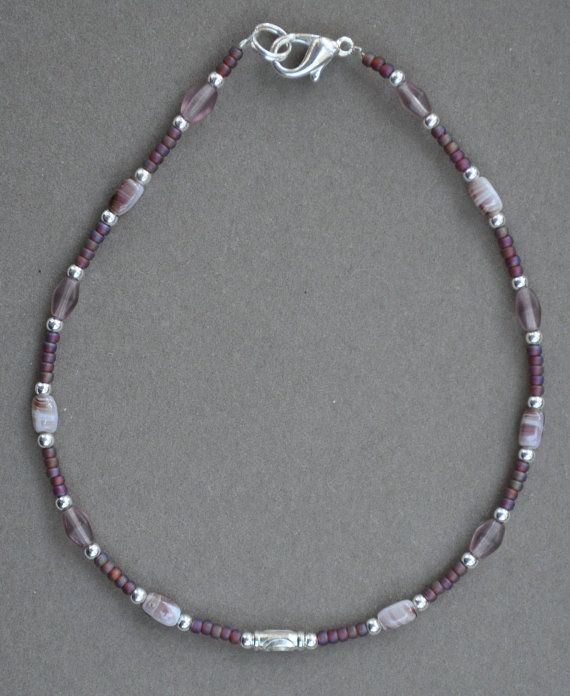 Jewelry - Anklets - Purple Beaded Anklet by JewelryArtByGail on Etsy