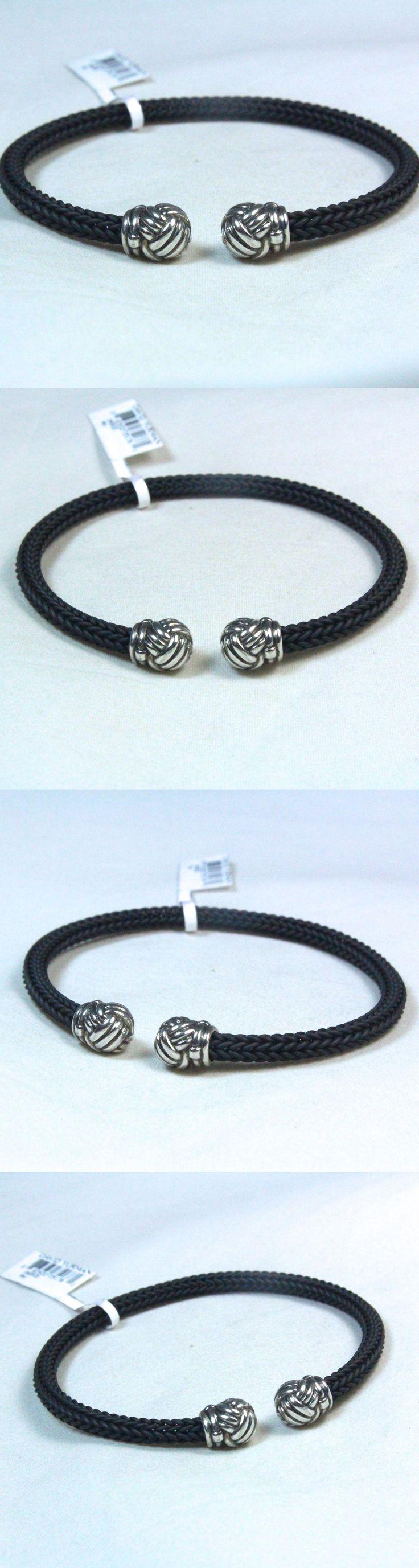 Bracelets 137835: New David Yurman Mens Silver Black Rubber Monkey Fist Caps Cuff Bracelet 8.5 BUY IT NOW ONLY: $245.0