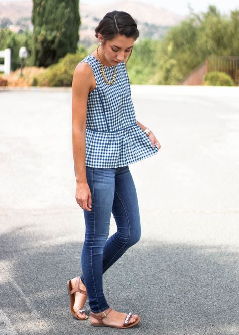 Moo's Musing J Crew Gingham Peplum tank with hollister jeans and j crew factory jeweled sandals Outfit Inspiration