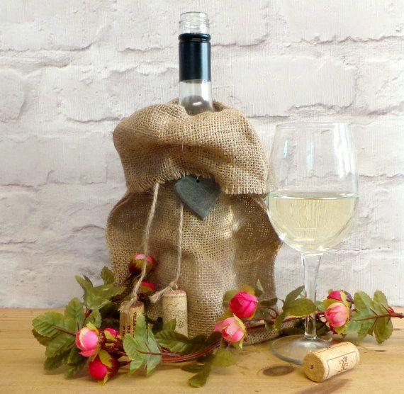 Hessian Gift Bag for Wine, Rustic Bottle Bag, Burlap Wine Bags, Floral Wine Gift Bag, Burlap Wine Bag, Gift Wrap for Wine Bottles, Gift Wrap