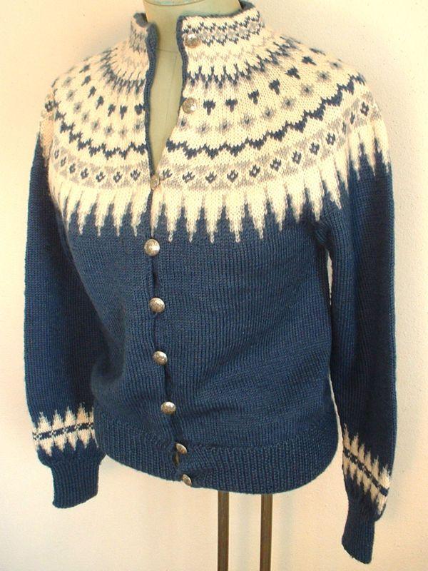 Vintage Knut Erichsen Ethnic NORWEGIAN Hand Knit Wool Fair Isle Cardigan SWEATER