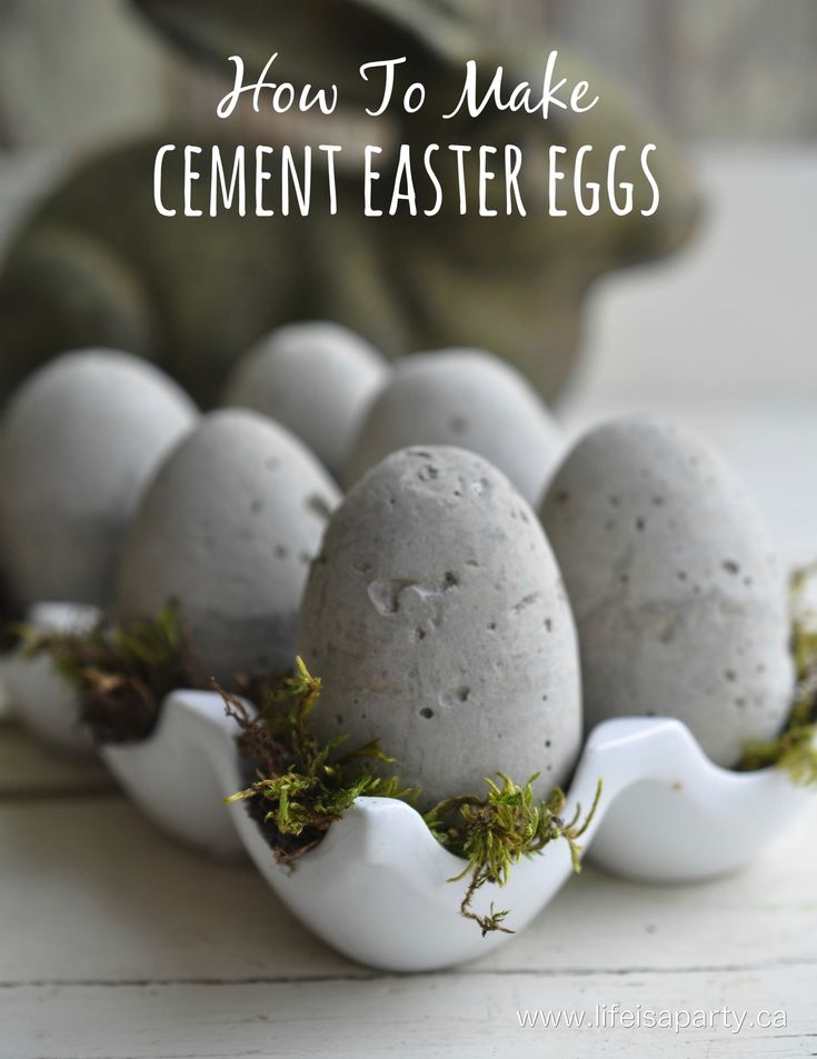 How To Make Cement Easter Eggs:  See how to use plastic Easter eggs as moulds to make your own cement eggs.