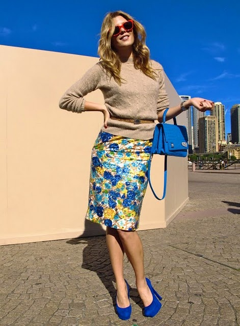Sydney fashion week by Tommy Ton: Fashion Weeks, Floral Skirts, Style, Blue Pencil Skirts, Blue Shoes, Bright Blue, Electric Blue
