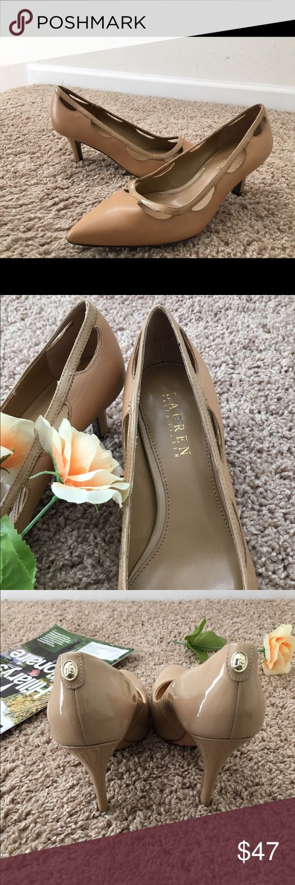 "LAUREN RALPH LAUREN Evie Leather Camel Heel The Lauren Ralph Lauren leather dress shoes features a leather upper with a pointed toe. Man-made outside lends lasting traction and wear. 2"" heel, Solid pattern, Width - Medium ( B,M) . Lauren Ralph Lauren Shoes Heels"