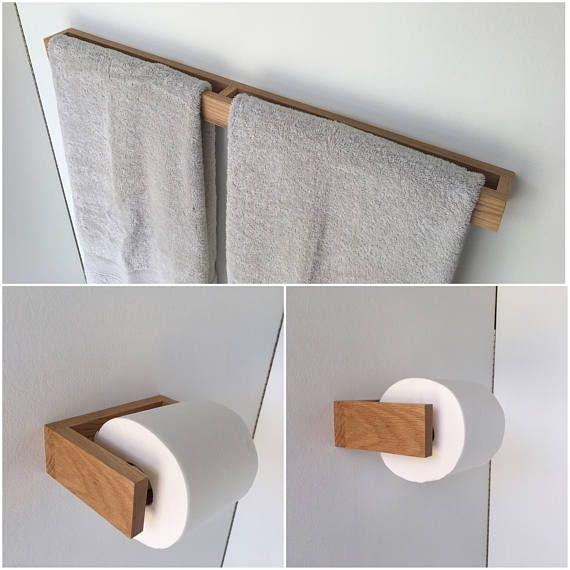 Bathroom Towel Holder Toilet Paper Holder Oak Bathroom