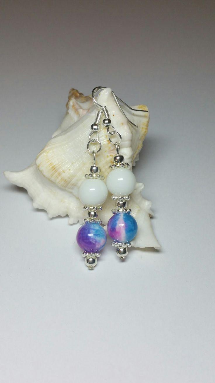 Multi Colour Beaded Dangle Earrings, Blue Pink Purple & White Bead Hook  Earrings, Silver