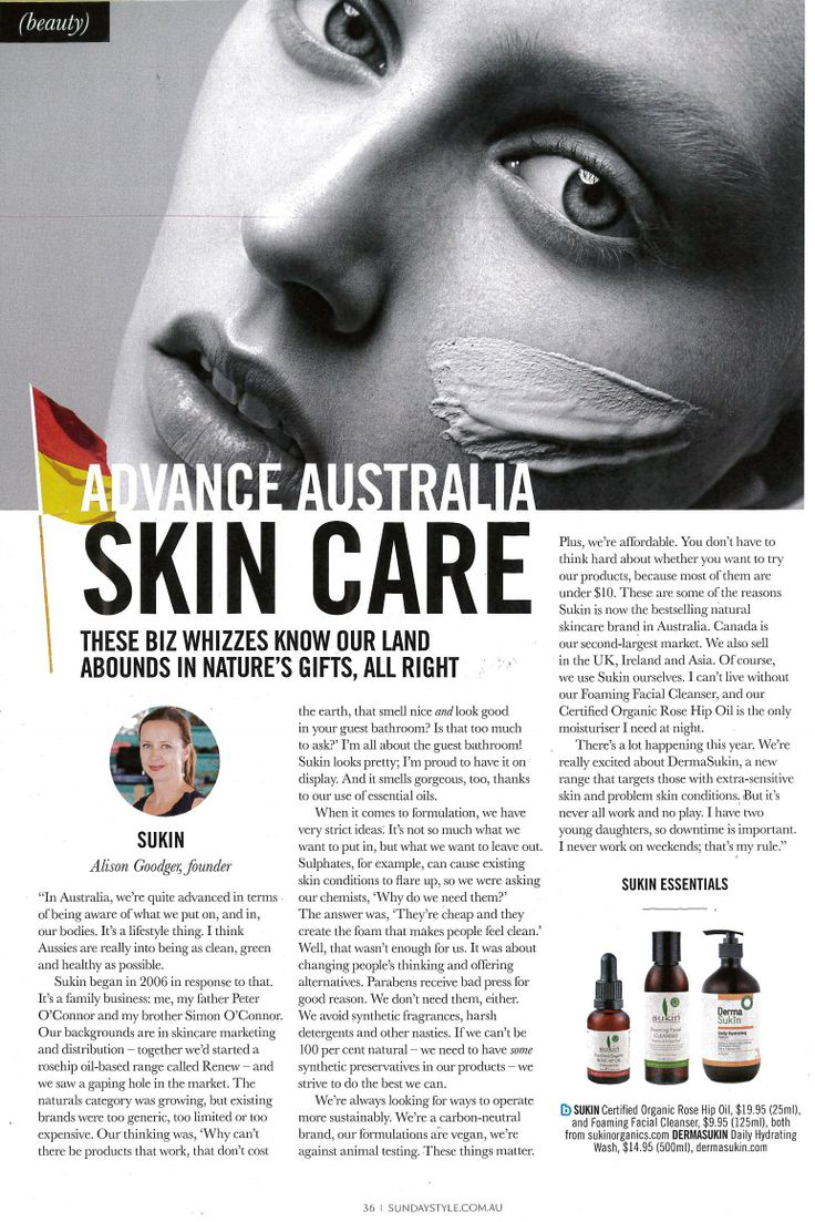 """Sunday Style Magazine - May 25th 2014 Sukins Founder, Alison Goodger talks about the brands beginnings, present and future plans in """"Advance Australia Skin Care."""""""