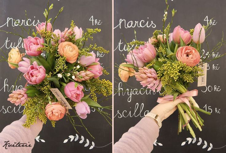 spring tulip, hyacinthus and ranunculus bouquet