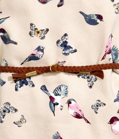 Kjole med bælte | Lys beige/Sommerfugle | Børn | H&M DK