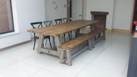Rustic Reclaim Pine Dining Table. 10 Feet Long! Matching Benches