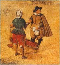 Calzónes o greguescos al estilo cortesano. El vendedor además lleva debajo un calzón de lienzo. 1618-20. Anónimo madrileño, Plaza mayor, Museo municipal de Madrid (detalle)