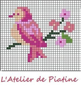 grille oiseau - free bird cross-stitch pattern