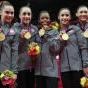 American Medal Winners of London Olympics 2012 - Road Runner  Allison Schmitt, Dana Vollmer, Shannon Vreeland, & Missy Franklin