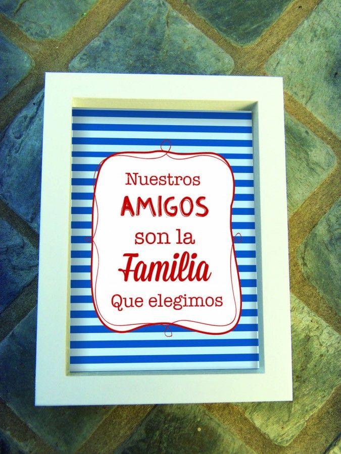 Cuadros Día del Amigo |  Medida 18x24cms | Marco en color blanco o madera natural |
