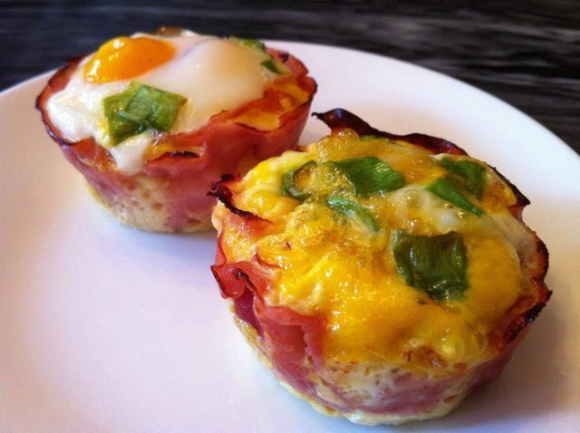 Egg and Ham Cups- 400 degrees, 15 minutes (less time for scrambled), we make these and reheat for breakfast all week... super tasty and easy