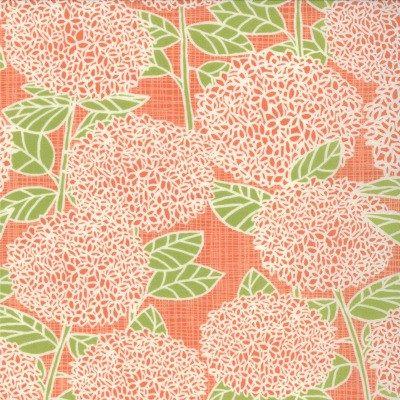 Bluebird Park, Hydrangea in Tangerine  (13101 16) // Moda Fabrics at Juberry