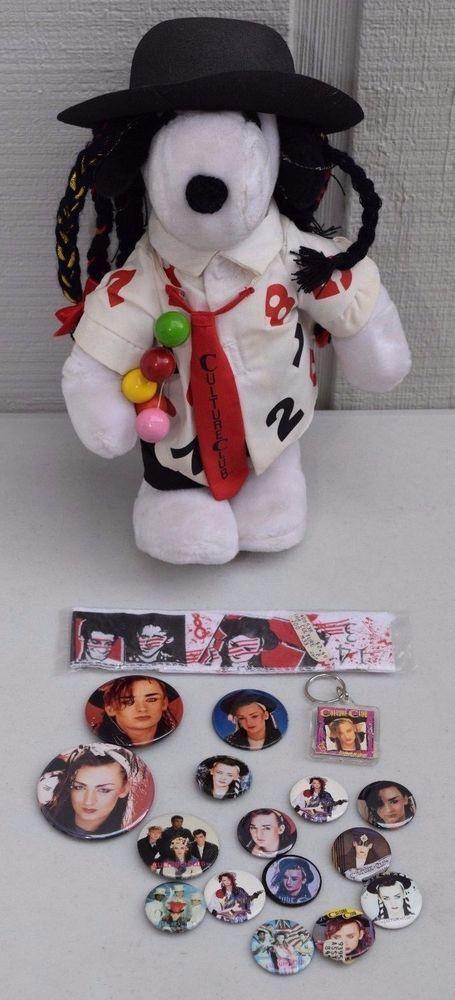 "LOT OF PINS & 12"" BOY GEORGE SNOOPY Plush Stuffed Doll Peanuts Toy Culture Club"
