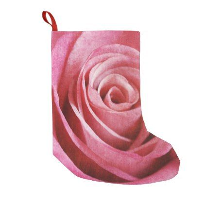 Pink Rose Flower with Grunge Texture Small Christmas Stocking - valentines day gifts diy couples special day