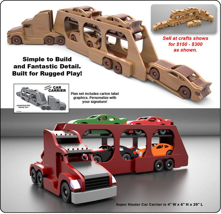 Famous Kenworth Semi Truck & Trailer Wood Toy Plan Set