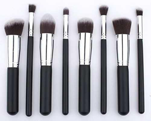 cool Premium Synthetic Professional Makeup Brush Set Cosmetic Face Powder Foundation Eye Shadow Blending Blush Brushes Kit (8 Pcs Silver Black)