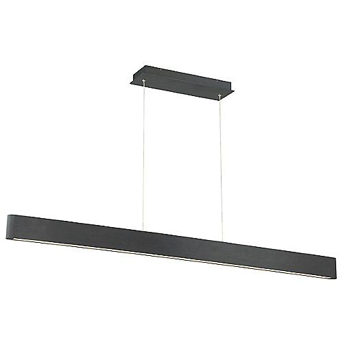 With its minimalist form and high output energy-efficient lighting, the Volo Linear Pendant by dweLED is the perfect lighting solution for contemporary residential and commercial settings. Its linear form consists of a Die-cast Aluminum body (with rounded ends) that contains a Frosted Acrylic diffuser and integrated LEDs. Though slim in appearance, the fixture's lighting is robust, providing a pleasant, even illumination that can be used for your next dinner or office meeting.