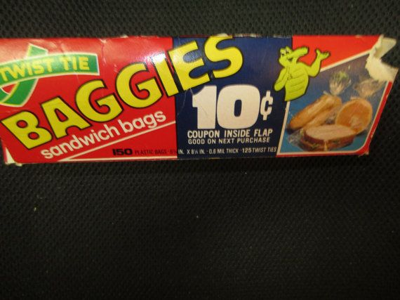 Vintage 1980s BAGGIES Sandwich bags in box twist by kookykitsch, $10.00