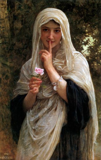 The Secret by William-Adolphe Bouguereau (La Rochelle, November 30, 1825 - La Rochelle, August 19, 1905)