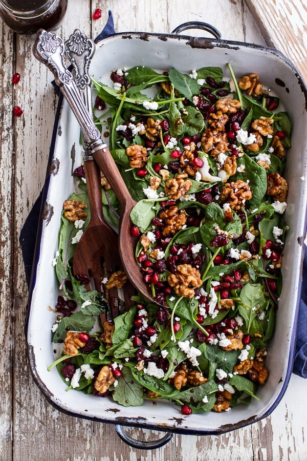 Winter Salad with Maple Candied Walnuts + Balsamic Fig Dressing - the perfectly festive holiday salad. Find this recipe and more at halfbakedharvest.com