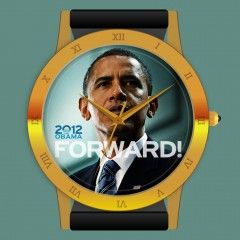 The Forward Obama Watch is an Obama People's Watch designed by A. Nonymous.    It sports the Official Campaign Slogan of the President's re-election. The exquisite design of the Forward Obama Watch and its historic nature ensure this will be a valuable collectible as time marches on. It is available at http://obamawatches.com