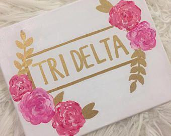 Tri Delta Sorority Canvas, delta delta delta, big little gift, bid day, dorm decor, sorority painting, flower painting, trendy art, 8x10