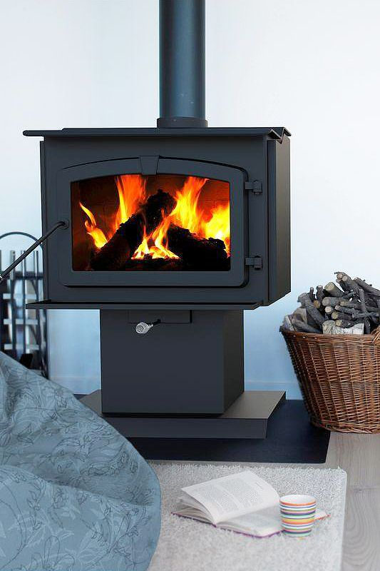 Pleasant hearth 1 200 sq ft epa certified wood burning for Most efficient small wood burning stove