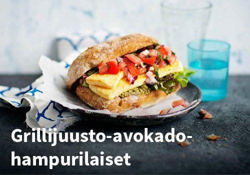 Grillijuusto-avokado-hampurilaiset, Resepti: Valio #kauppahalli24 #resepti #grillijuusto #hampurilainen #verkkoruokakauppa