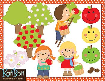 Apple Picking Clipart by Kari Bolt. I just LOVE Kari's clipart and use her sets a lot! I love that she includes colored and blackline images!