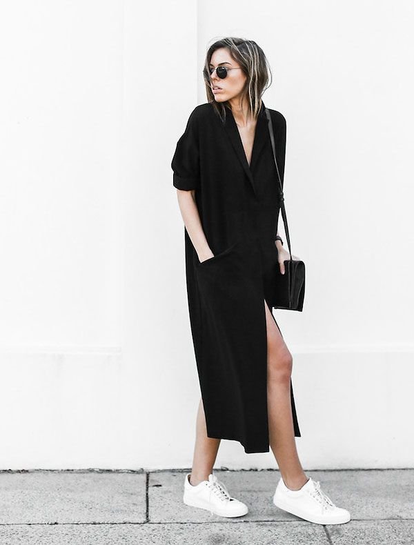 Look todo preto com maxi cardigã como vestido.