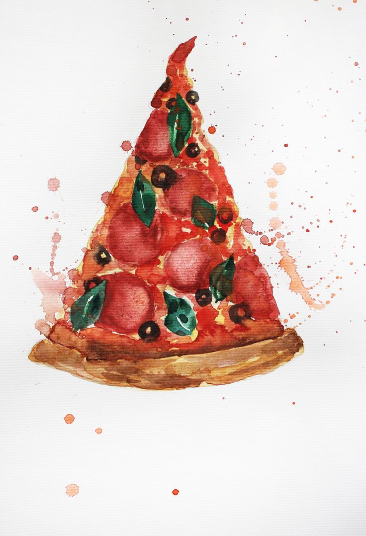 ORIGINAL Watercolor Painting Pizza Watercolor Food Painting Kitchen art Home…