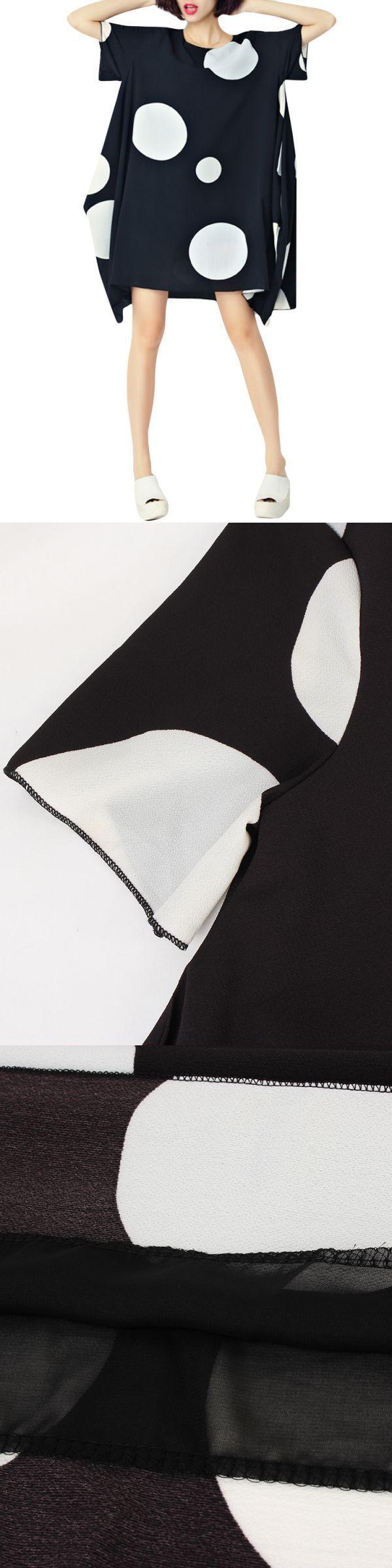 Jcpenney chiffon dresses loose women short sleeve polka dot irregular hem chiffon t-shirt #chiffon #dresses #2015 #chiffon #dresses #pictures #chiffon #dresses #pinterest #chiffon #dresses #with #slits