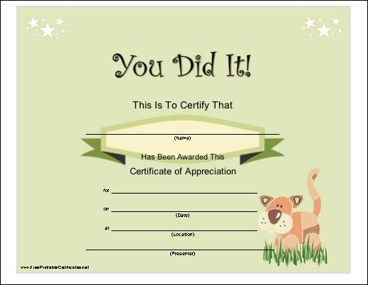 16 best certıfıcate images on Pinterest Printable certificates - copy certificate of appreciation for teachers